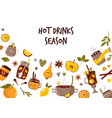 colorful collection with hot drinks mulled wine vector image