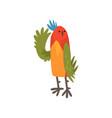 cute bird waving its wing funny birdie cartoon vector image vector image