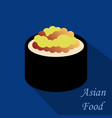 cute roll character with caviar ikura gunkan vector image