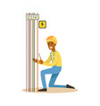 electrician engineer repairing electricity power vector image vector image