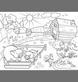 farm animals and rural landscape coloring vector image vector image