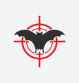 flying bat icon red target insect pest control vector image