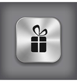 Gift icon - metal app button vector image vector image