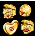 Golden chest with dishes heart and other items vector image vector image