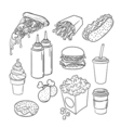 hand drawn pop art monochrome set of fast food vector image vector image