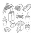 hand drawn pop art monochrome set of fast food vector image