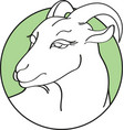 handdrawn goat in round green frame isolated vector image