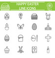 happy easter line icon set vector image vector image