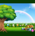 happy easter nature background with rainbow vector image vector image