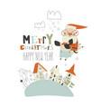 happy santa claus riding bull above small town vector image vector image