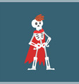 human skeleton in red cloak standing with hands on vector image vector image