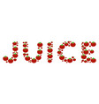 Juice word collage of tomato vector image