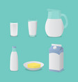 milk in glass bottle and cheese set collection vector image vector image