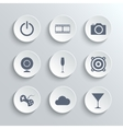 Multimedia icons set - white round buttons vector image vector image