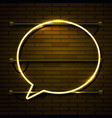 neon chat bubble sign on dark brick wall vector image
