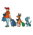 pet friendly transport airports cruises or trains vector image