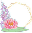 pink waterlily and geometric frame vector image
