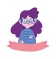 portrait cartoon girl with glasses ribbon isolated vector image