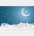 reindeer running in the moon merry christmas vector image
