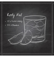 Rusty Nail Cocktail on black board vector image