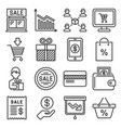 sales and shopping icons set on white background vector image vector image