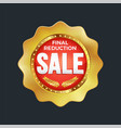 set excellent quality red badges with gold vector image vector image