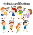 set of attitudes and emotions vector image vector image