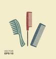 set of different combs flat icon with scuffed vector image vector image