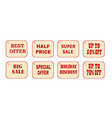 set of price tags red text on yellow textural vector image