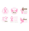 set pink logos with inscriptions in support of vector image vector image