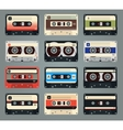 set retro audio cassettes vector image