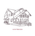 sketch of wooden house vector image vector image