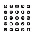 social media icon set black white color vector image vector image