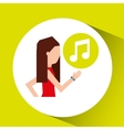 sport girl running with smart watch music icon vector image