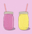 strawberry and banana milkshakes in mason jar on vector image