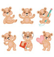 teddy bear characters fluffy cute toys for kids vector image vector image