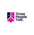 three people talk group 3 chat bubble