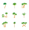 Tree palm icons set cartoon style vector image vector image