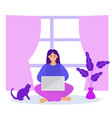 work at home freelance girl works on a laptop vector image