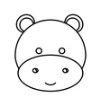 cute little hippo animal character vector image