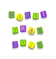 Words Mardi Gras 2016 vector image