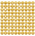 100 device app icons set gold vector image vector image