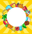 background with cute kawaii summer items vector image vector image