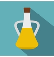Bottle with olive oil icon flat style vector image