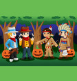 boys dressed up as cowboys and native americans vector image
