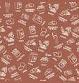 chocolate cookie ingredients pattern on brown vector image vector image