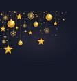 christmas 3d gold balls stars and snowflakes vector image vector image