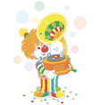 circus clown with a gramophone vector image vector image