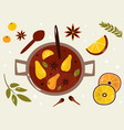 colorful poster with mulled wine citrus and vector image