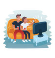 couple watching retro tv set vector image